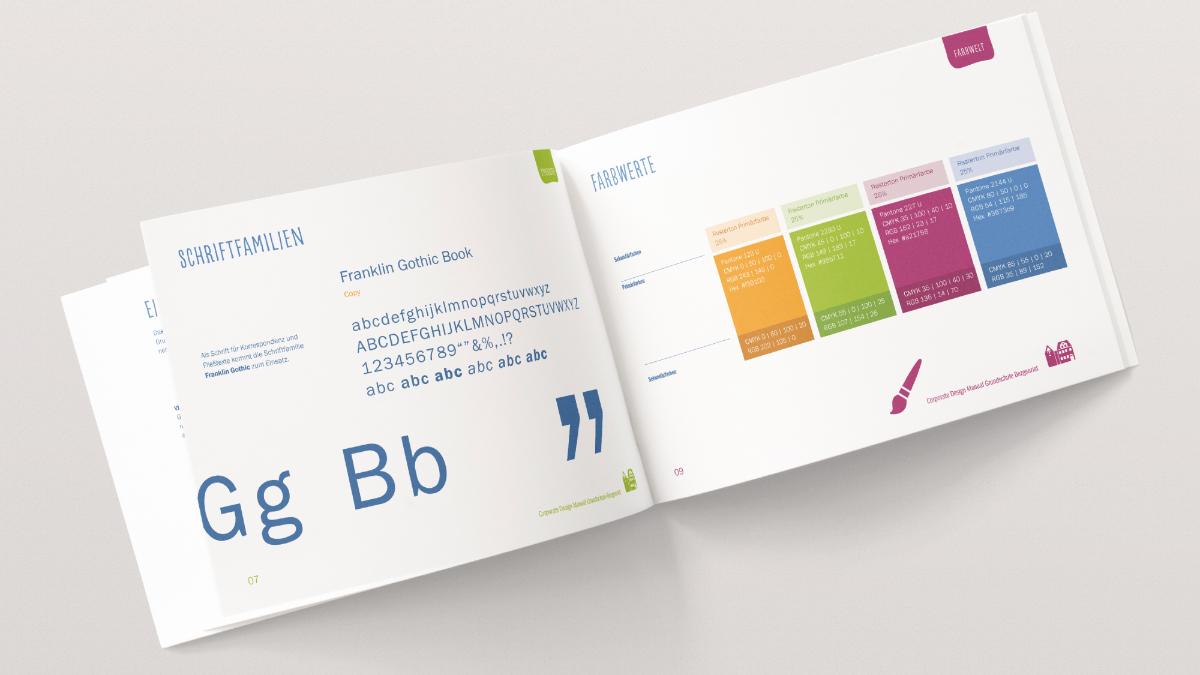 Auszug Schrift und Farbe aus dem Corporate Design Manual der Grundschule Bezgenriet