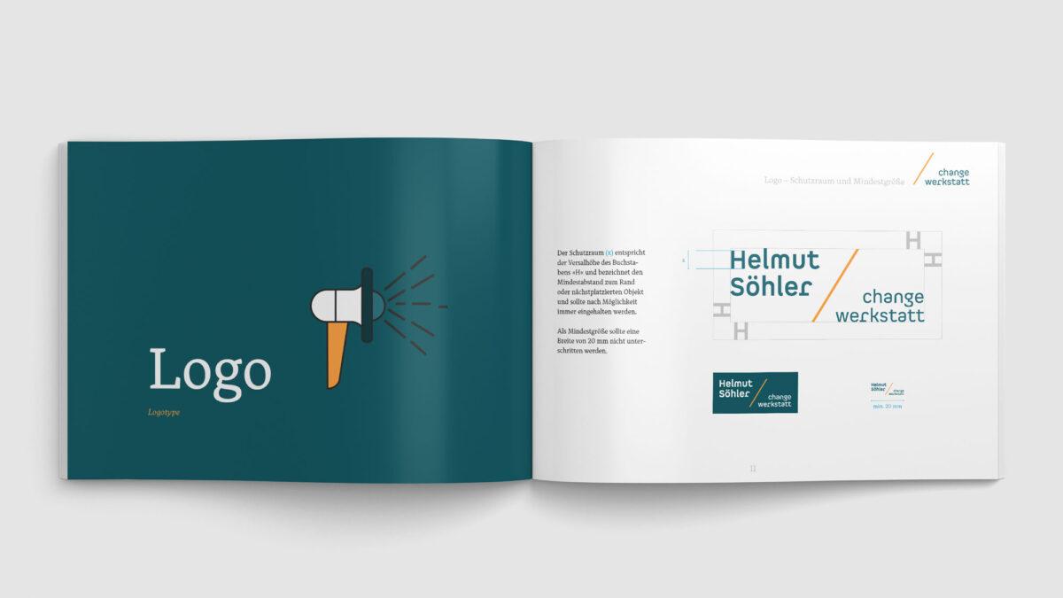 Helmut Söhler change-werkstatt Auszug aus dem Corporate Design Manual - Logo Vermassung und Schutzraum