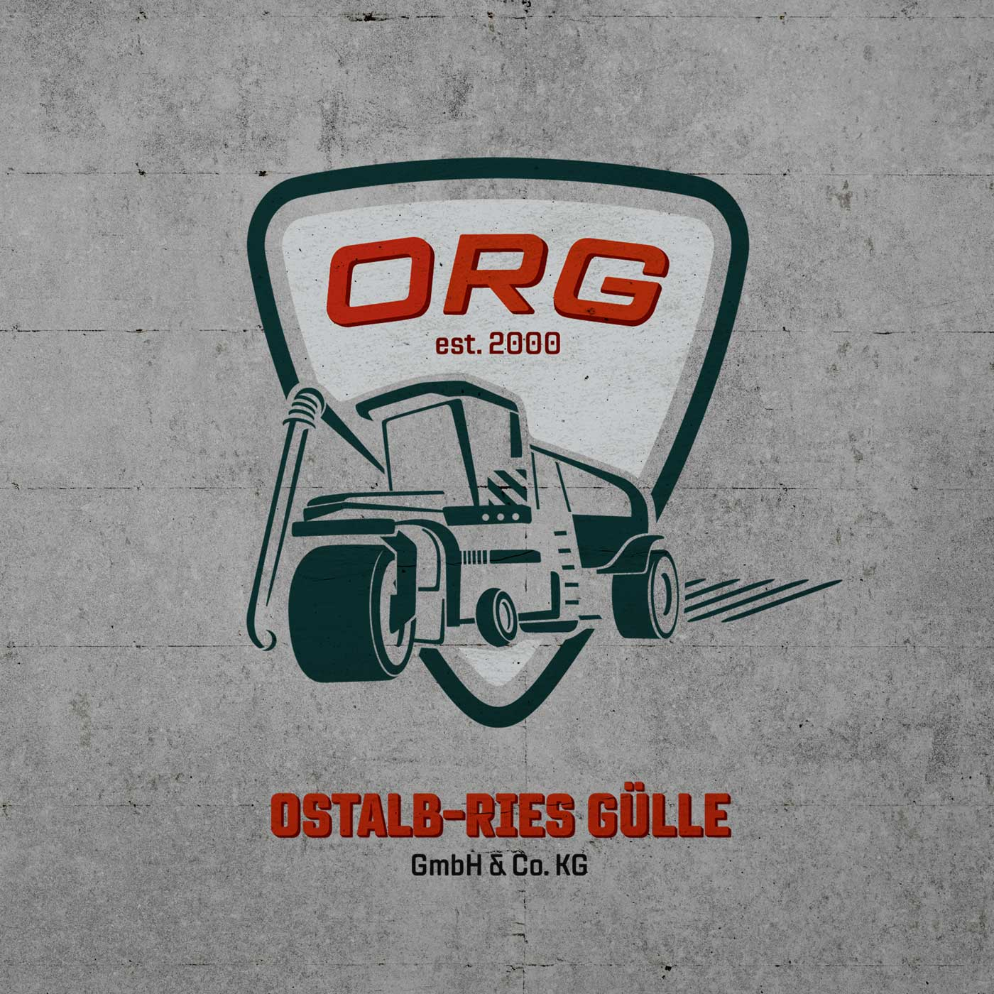 Logo ORG auf Betonwand