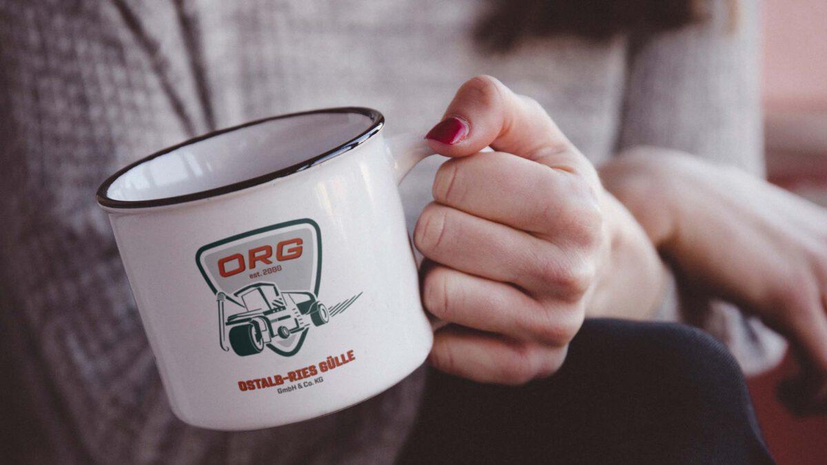 Kaffeebecher mit Logo Ostalb-Ries Gülle GmbH