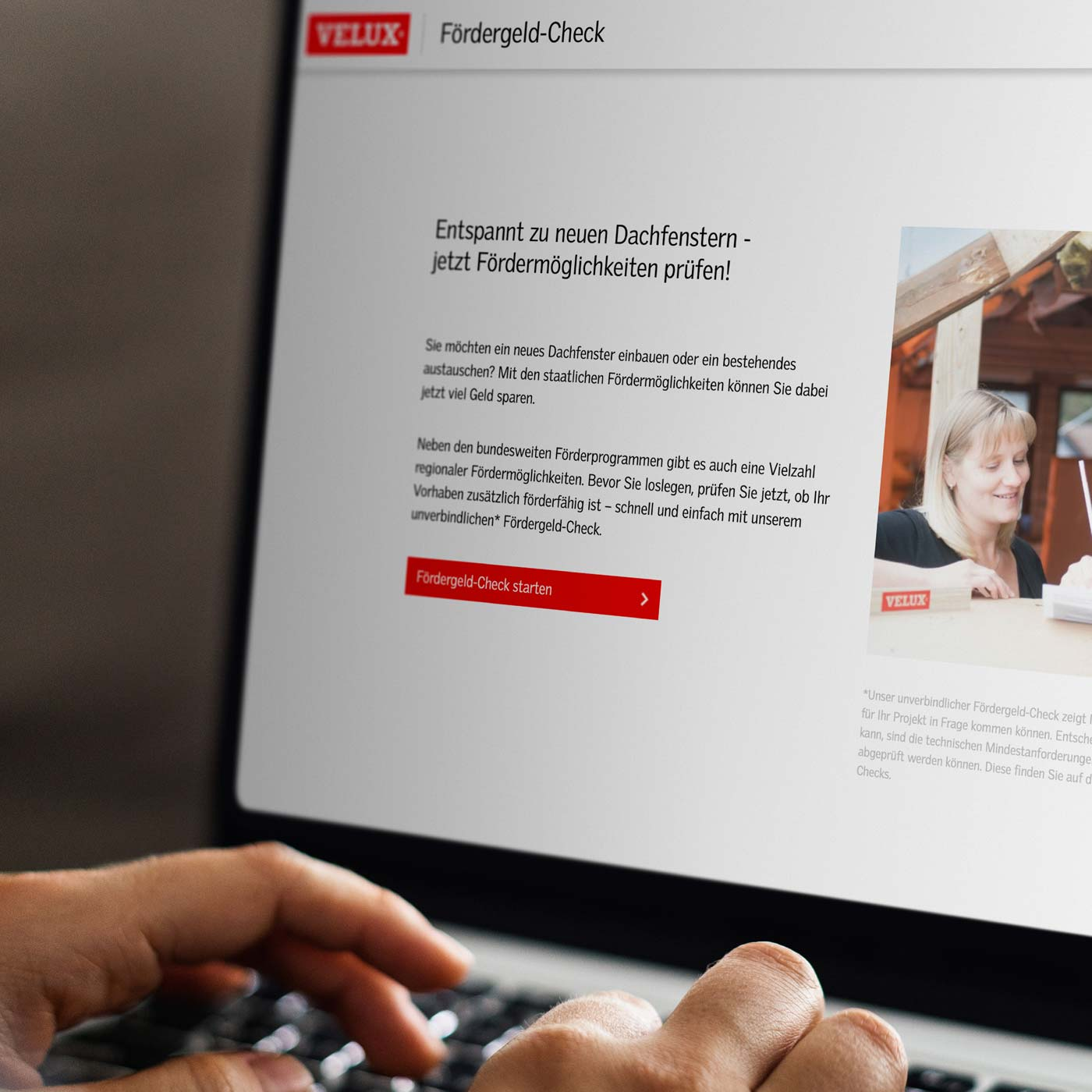 Screen des Online-Tools VELUX Fördergeld-Check