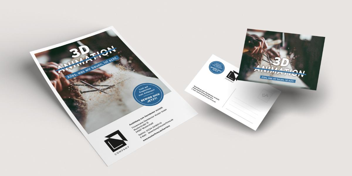 Plakat und Postkarten VELUX Recruiting Kampgange Dachdecker
