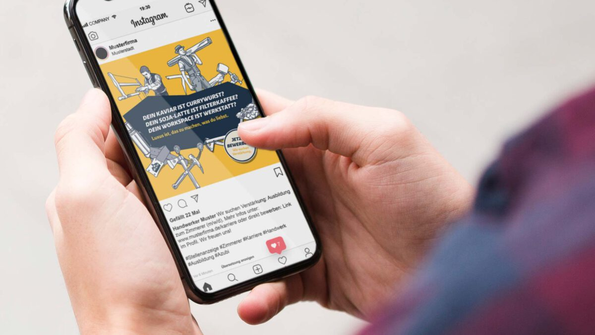 Instagram Creative VELUX Recruiting Kampagne Zimmerer